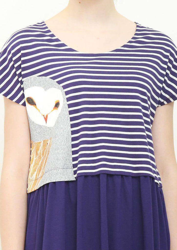 Owl Barn Peek (Ashley Percival Layered Short Sleeve One-Piece)