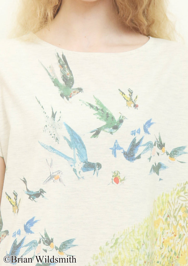 Tortoise and Birds (Brian Wildsmith Boat Neck Short Sleeve One-Piece)
