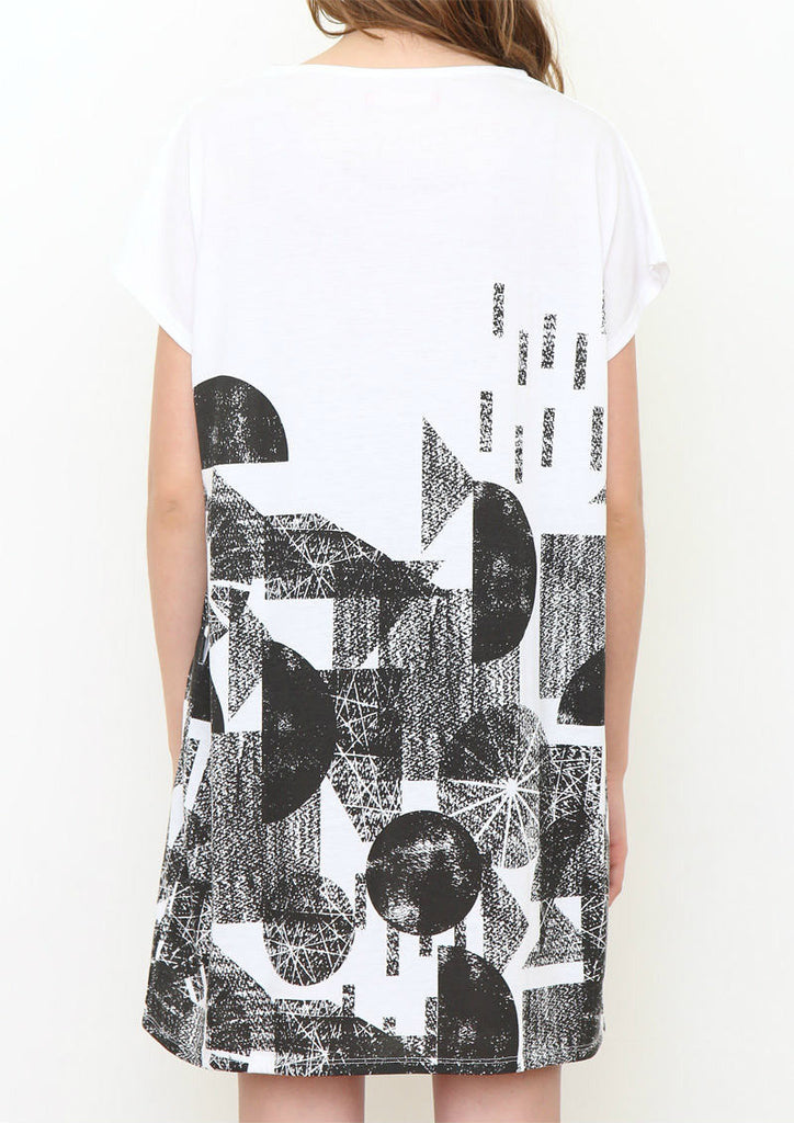 Geometric Bottle Neck Short Sleeve One-Piece (Geometric Shower)