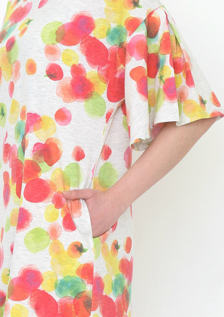 Multi Pattern Bell Sleeve One-Piece (Colorful Tomatoes)