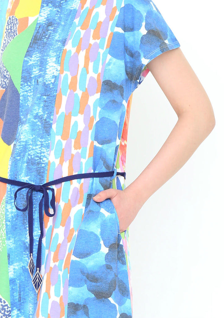 Collage Pattern Boat Neck Short Sleeve One-Piece (Patchwork of Painting)