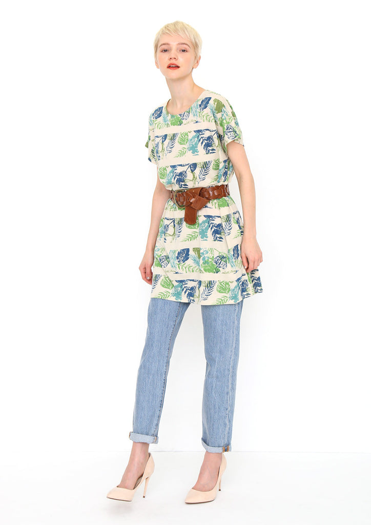 Botanical Print Short Sleeve One-Piece (Fresh Green Garden)