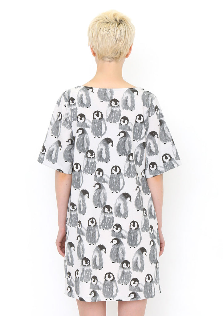 Boat Neck Cotton Half Sleeve One-Piece C (Fluffy Penguin)
