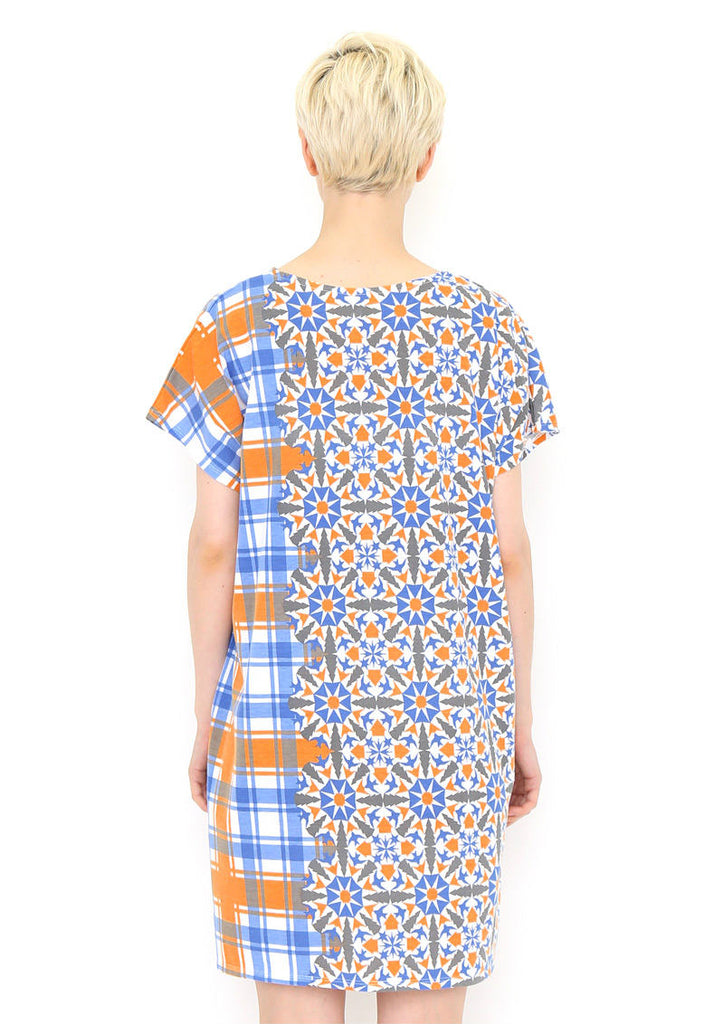 Check Pattern Round Neck Short Sleeve One-Piece (Crystal of the town)