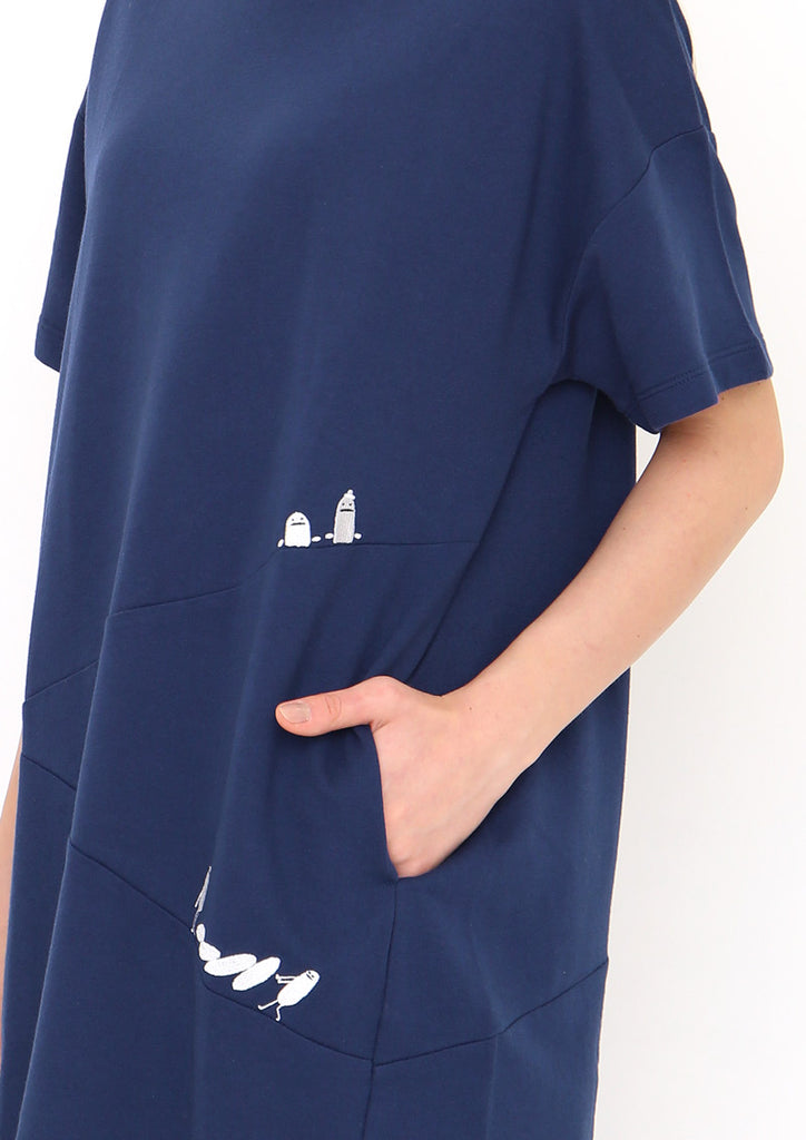Drop Shoulder Half Sleeve Sweat One-Piece ( BS Playing Domino)