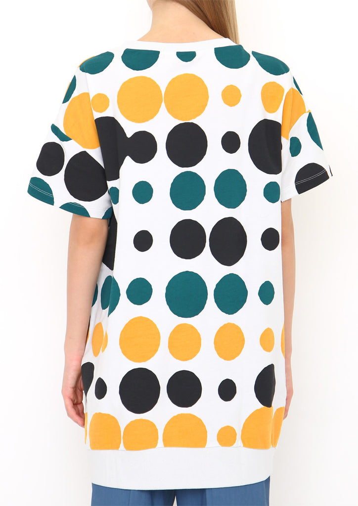 Drop Shoulder Half Sleeve Sweat One-Piece (Random Dots)