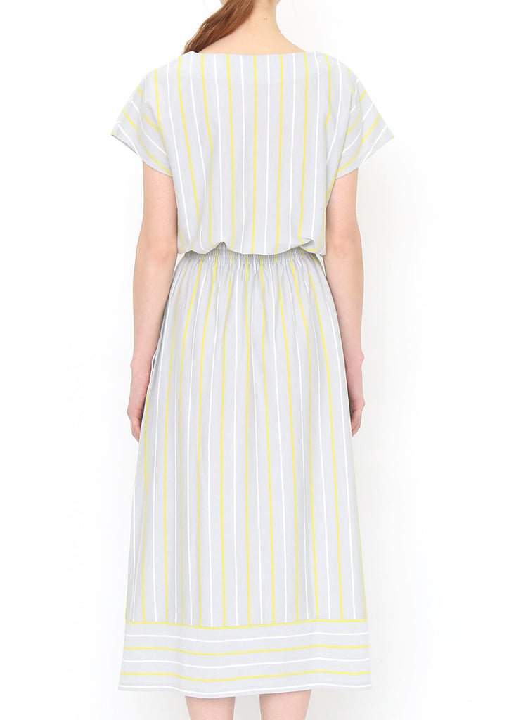 Stripe Blousing Maxi Length Short Sleeve One-Piece (Parts of the Forest)
