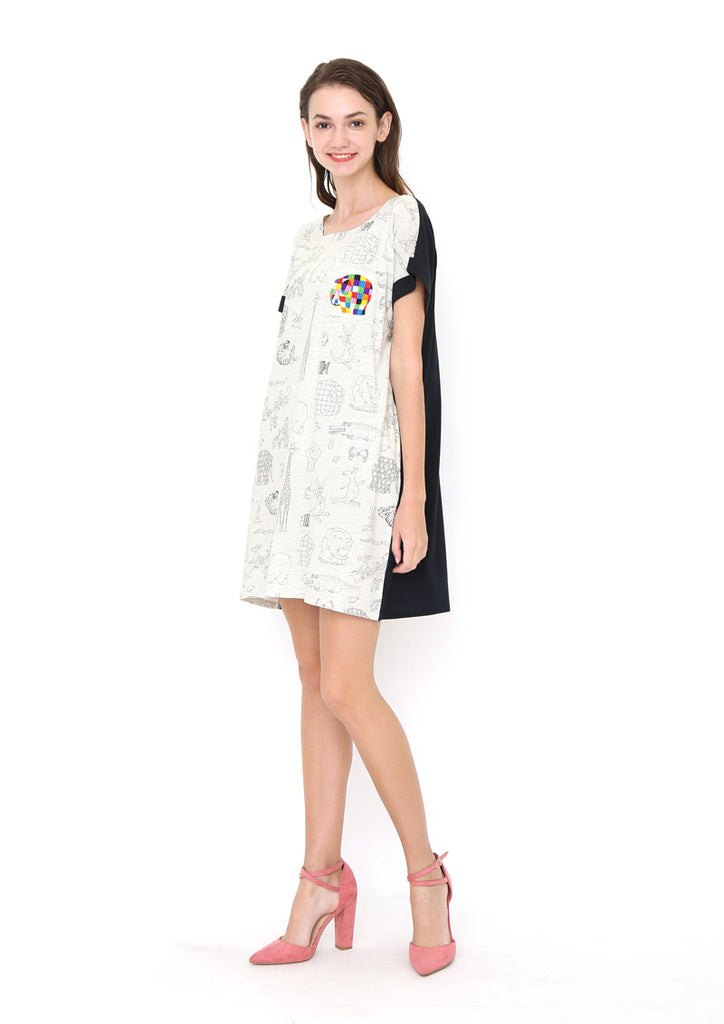 ELMER THE PATCHWORK ELEPHANT Short Sleeve One-Piece (ELMER THE PATCHWORK ELEPHANT_Elmer Embroidery and Line Art)