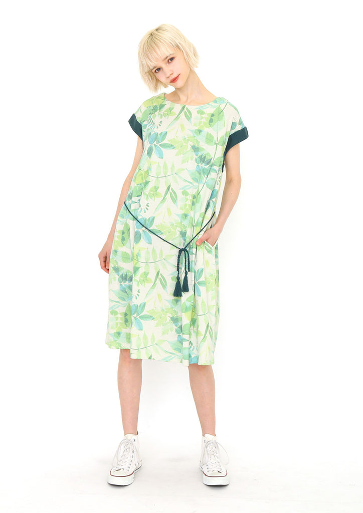 Million Ice Side Gather Short Sleeve One-Piece (Layered Green)
