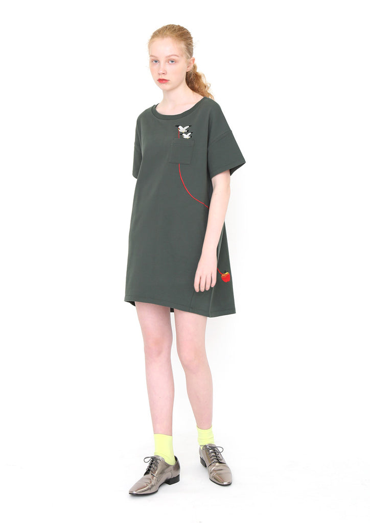 Drop Shoulder Half Sleeve Sweat One-Piece (Seagull Carrying)