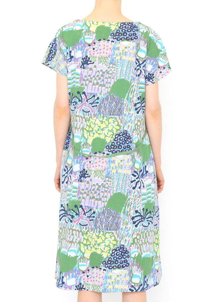 A Line Boat Neck Short Sleeve One-Piece (Coral Reef Garden)