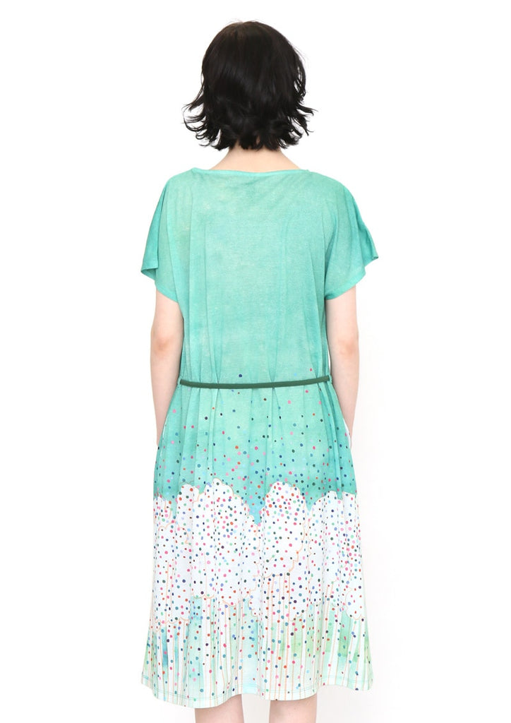 Tomoko Shinozuka A Line Boat Neck Short Sleeve One-Piece (Tomoko Shinozuka_Trees)