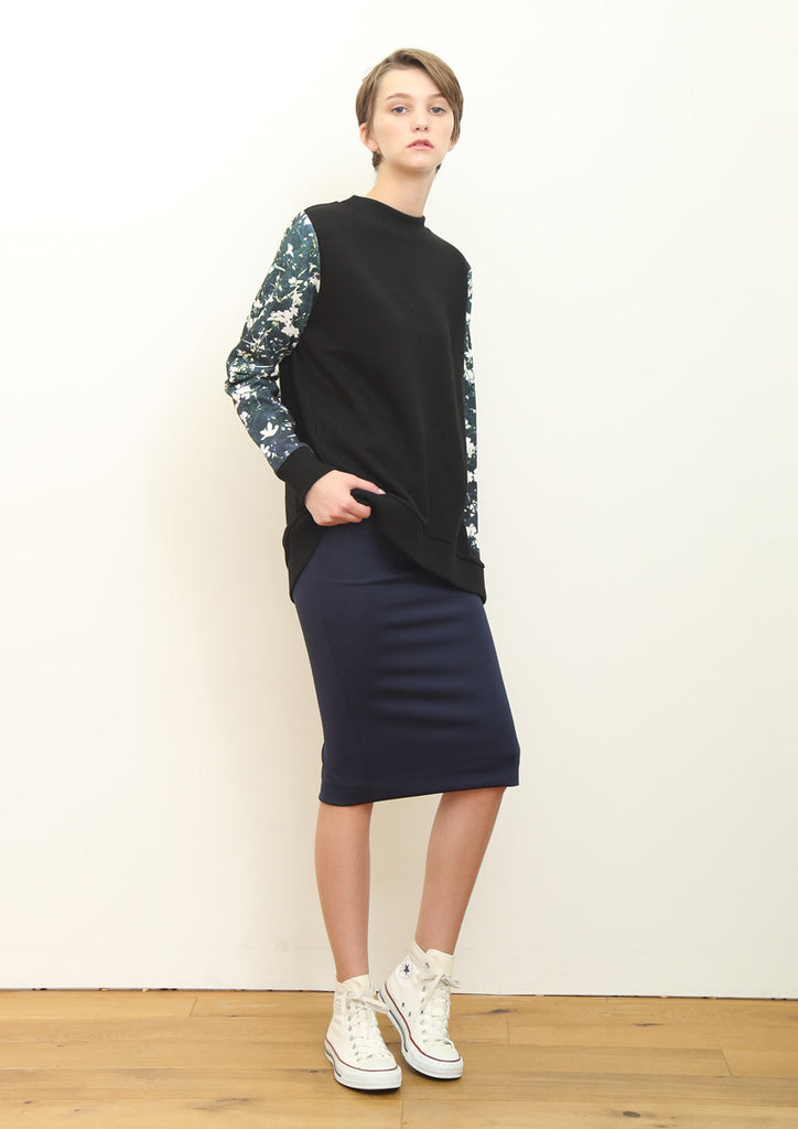 Multi Pattern Long Sleeve Sweat Tunic B (Gypsophila elegans)
