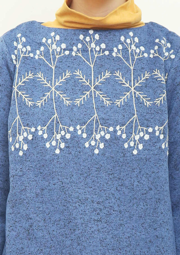 Knit Fleece Long Sleeve Sweat Tunic (Reflected Flower)