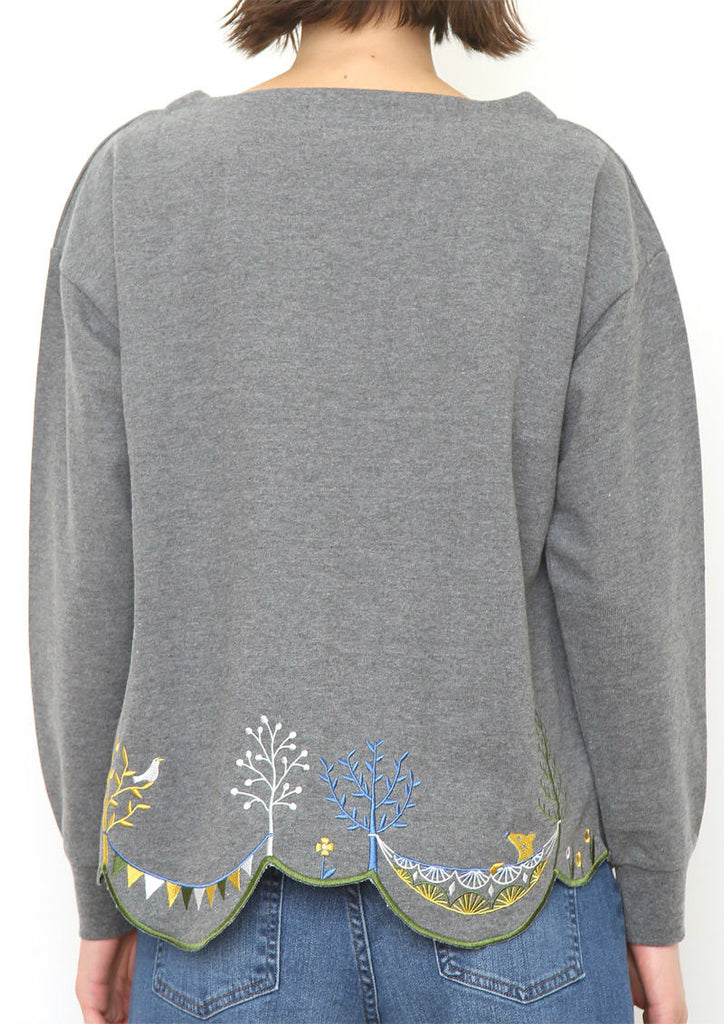 Scalloped Boat Neck Long Sleeve Sweat Top (Holiday in Forest)