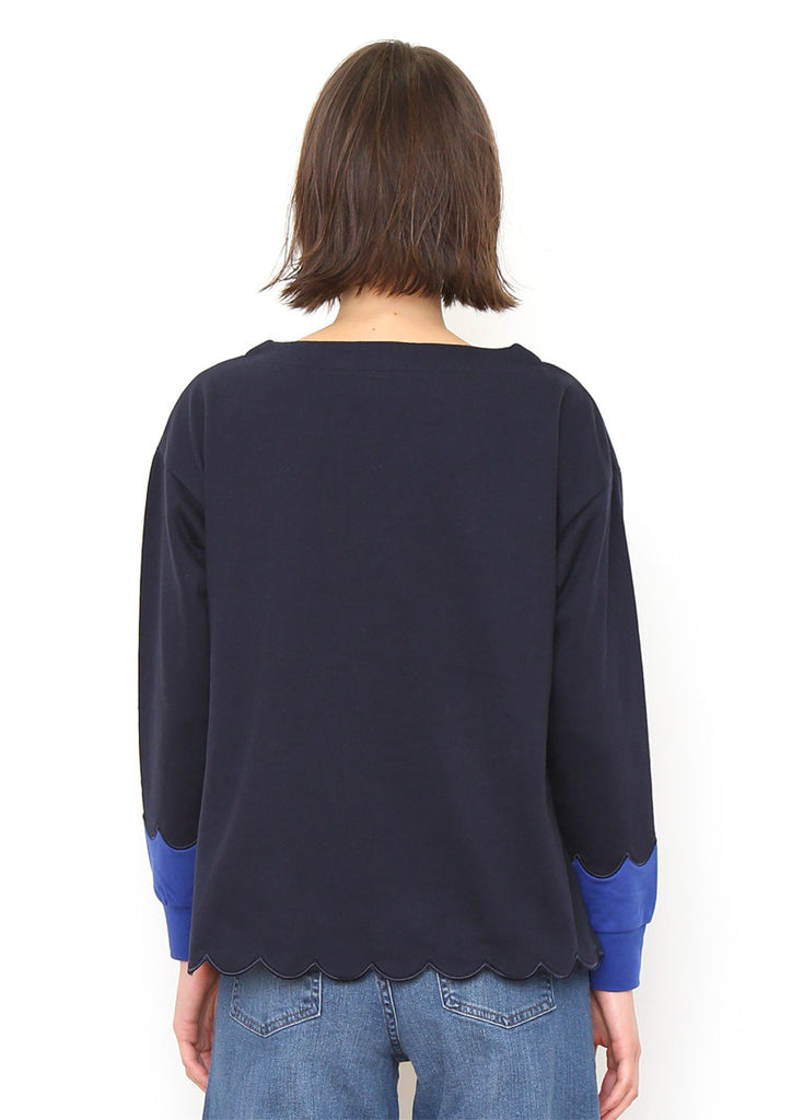 Scalloped Boat Neck Long Sleeve Sweat Top (Little Swan)