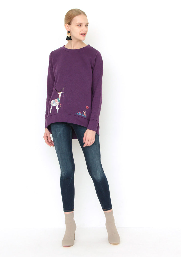 Crew Neck Long Sleeve Sweat Top (Clothed Gazelle)