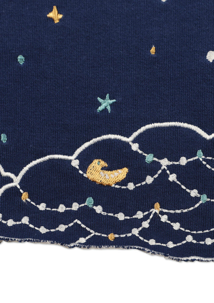 Scalloped Boat Neck Long Sleeve Sweat Top (Birds on clouds)
