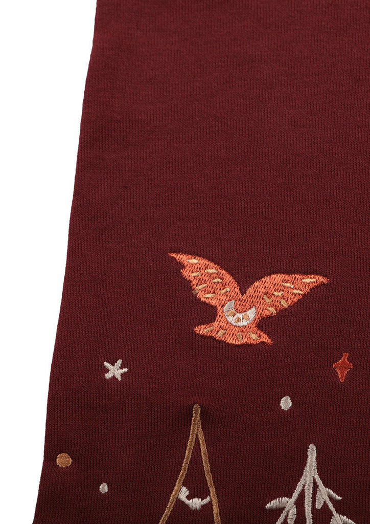 Scalloped Boat Neck Long Sleeve Sweat Top (Owl couple of the forest)