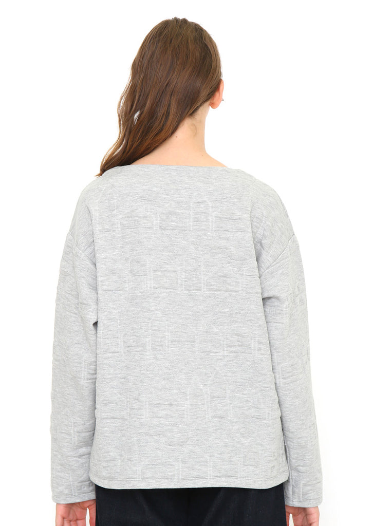 Cut Jacquard Long Sleeve Top (Houses)