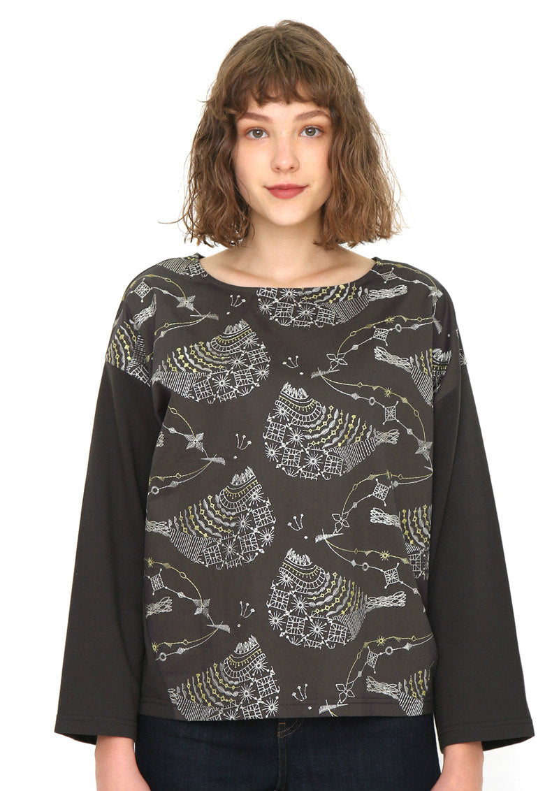 Embroidery Round Neck Sweat Tops (Decorative Birds)