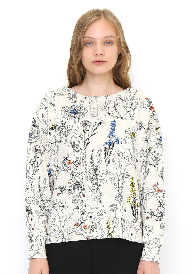 Volume Sleeve Sweat Top (Hide And Seek Animals)