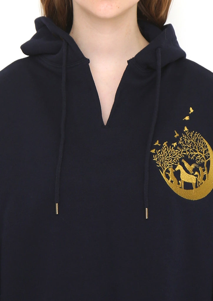 Embroidery Long Sleeve Parka (Bremen on the Moon)