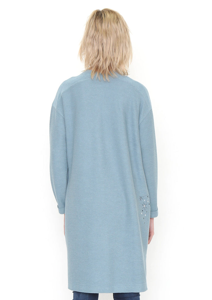 Drop Shoulder Long Cardigan (Flowing Stars)