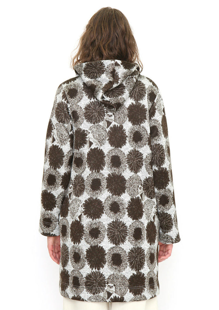 Knit Fleece Multi Pattern Hooded Coat (Hedgehog in Chestnut)