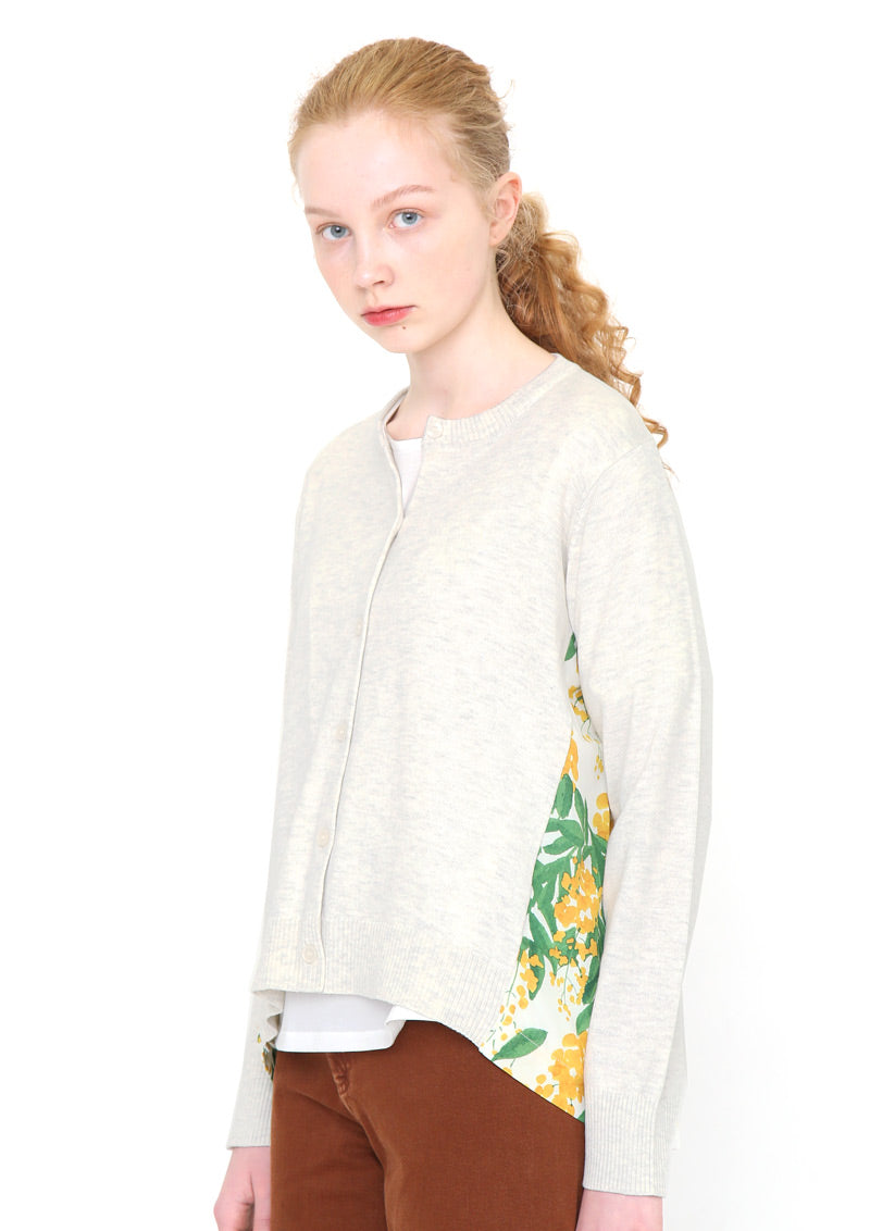 Fabric Combination Long Sleeve Knit Cardigan (Golden Flower Wall)