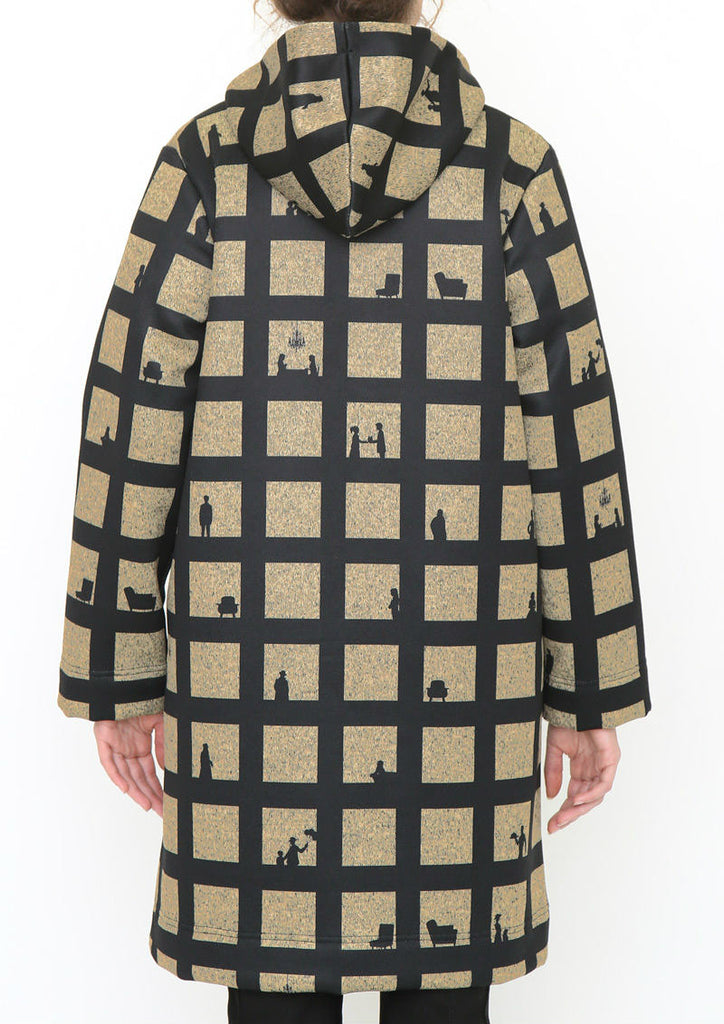 Knit Fleece Check Hooded Coat (Check in a Hotel)