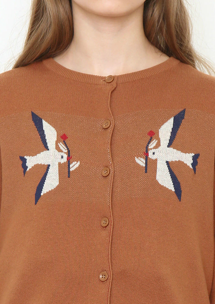 Jaquard Knit Cardigan (Birds with flowers)