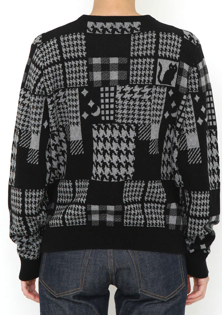 Jaquard Long Sleeve Knit Cardigan  (Houndstooth Check Collage)