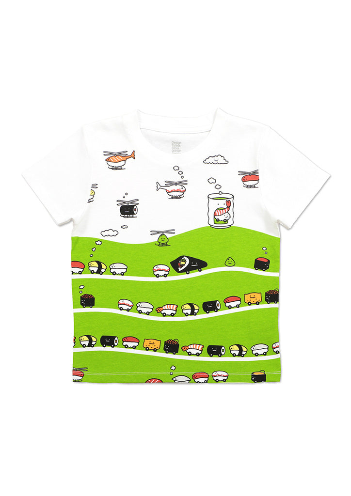 Playful Short Sleeve Tee (Sushi Train and Sushi Copter)