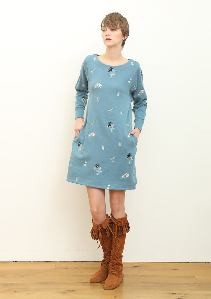 Embroidery Long Sleeve Sweat One-Piece (Dancing Flower Bouquet)