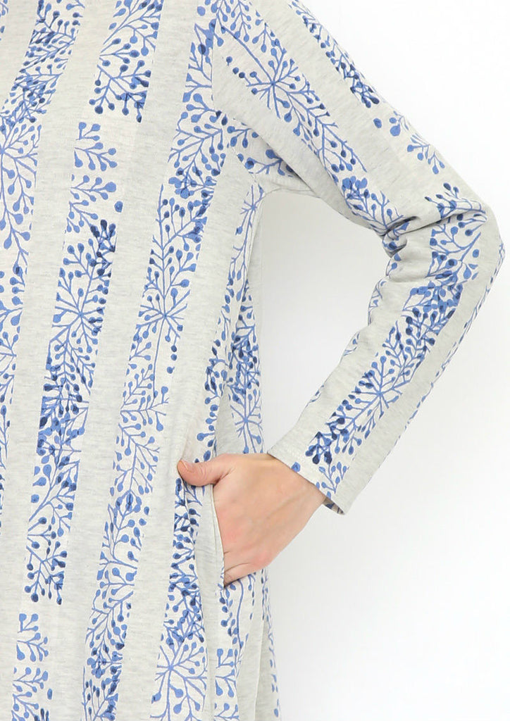 Multi Pattern Long Sleeve Sweat One-Piece B (Branch Silhouette)