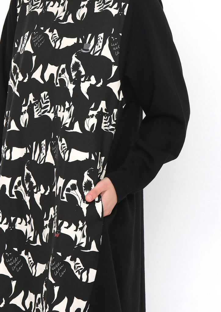 Fabric Combination Long Sleeve Sweat One-Piece (Animal Migration)