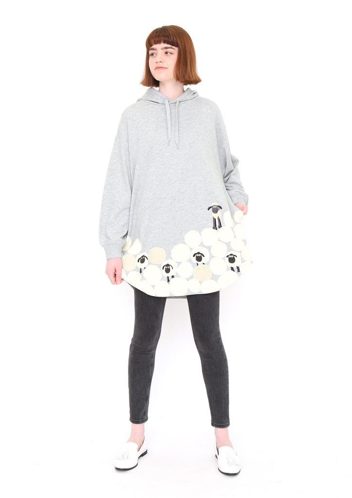 Shaun the Sheep Over Size Long Sleeve Parka (Shaun the Sheep_Sheep Pyramid)
