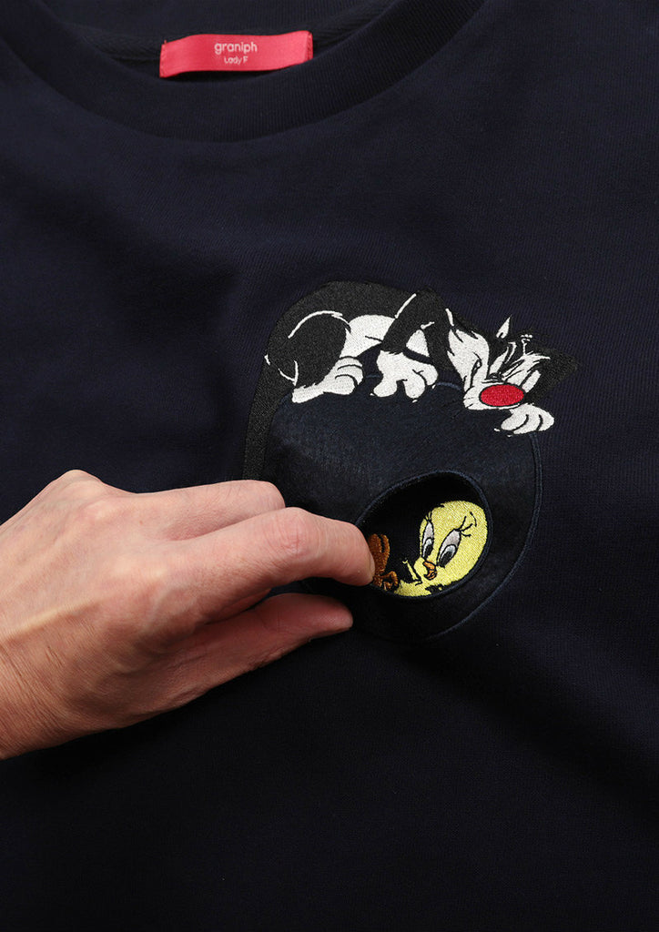 Looney Tunes Drop Shoulder Long Sleeve Sweat One-Piece (Looney Tunes_Sylvester and Tweety)