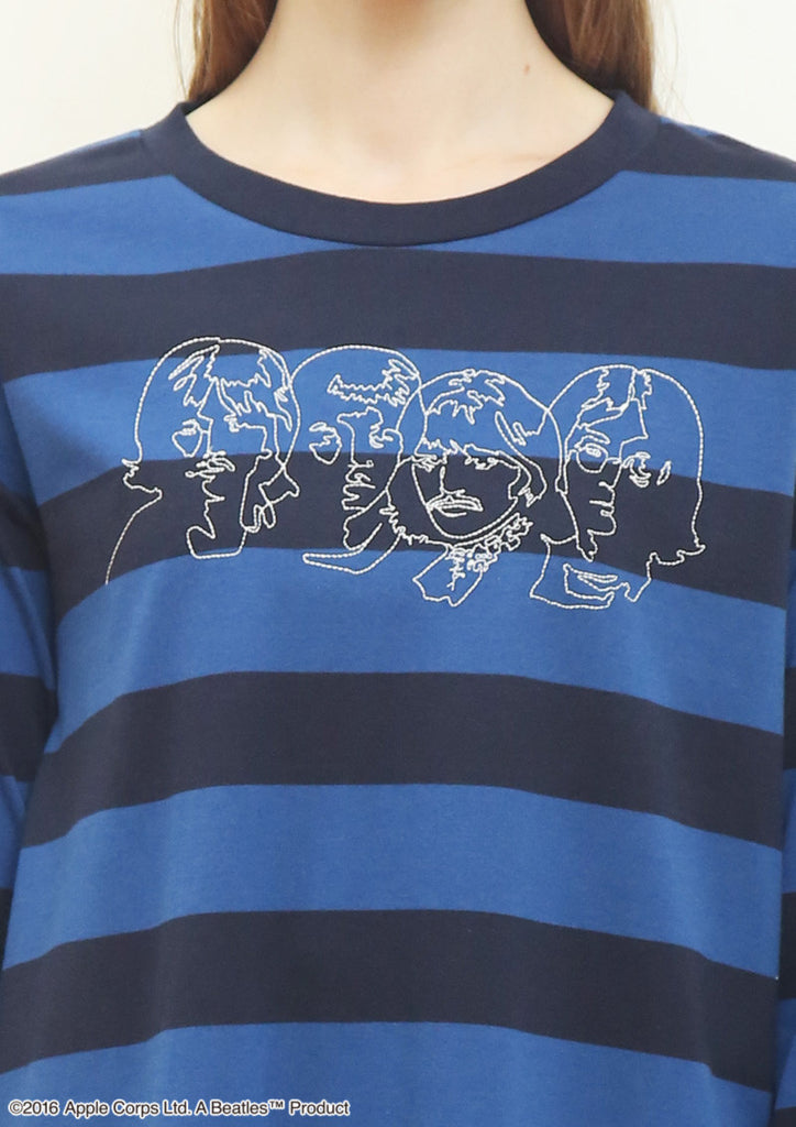 Line Art Beatles (The Beatles Round Neck Long Sleeve One-Piece)