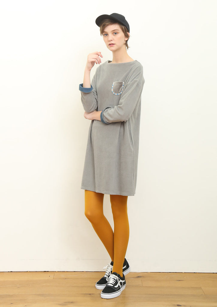 Corduroy Long Sleeve One-Piece (Light Gray)