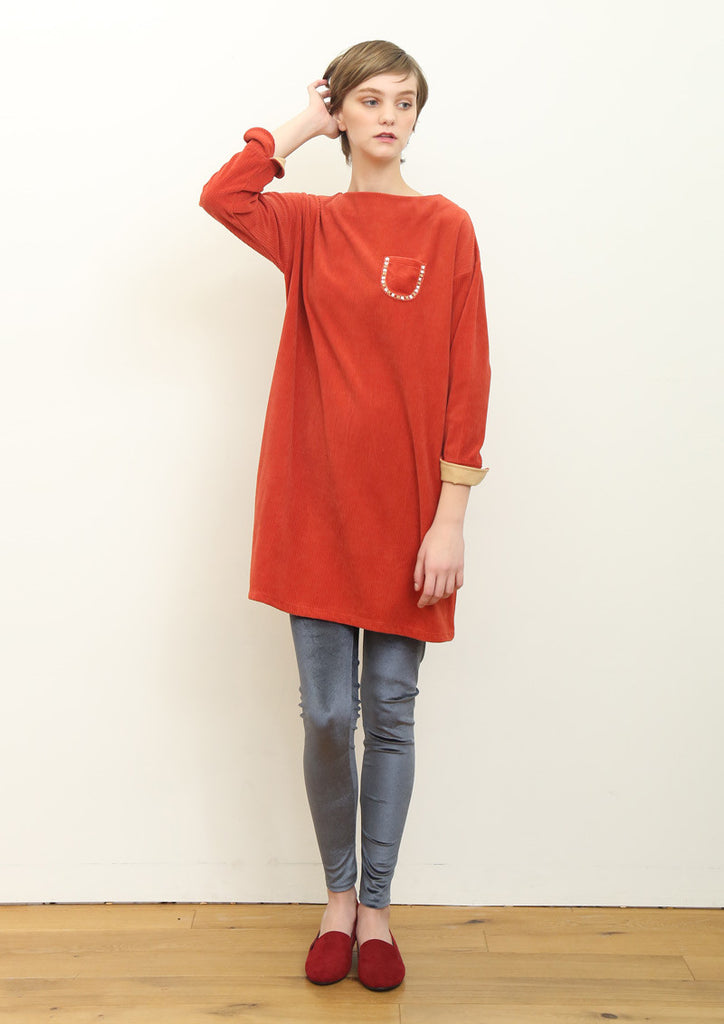 Corduroy Long Sleeve One-Piece (RED)