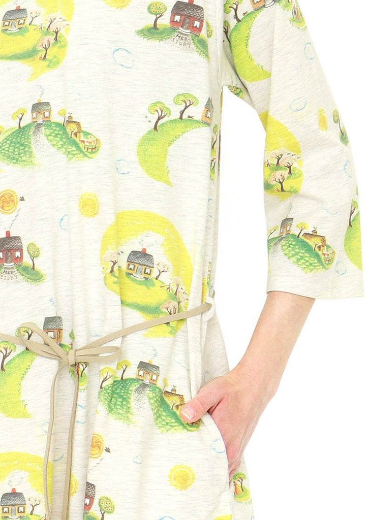 A Line Belt Middle Sleeve One-Piece (Virginia Lee Burton_The Little House Circle)