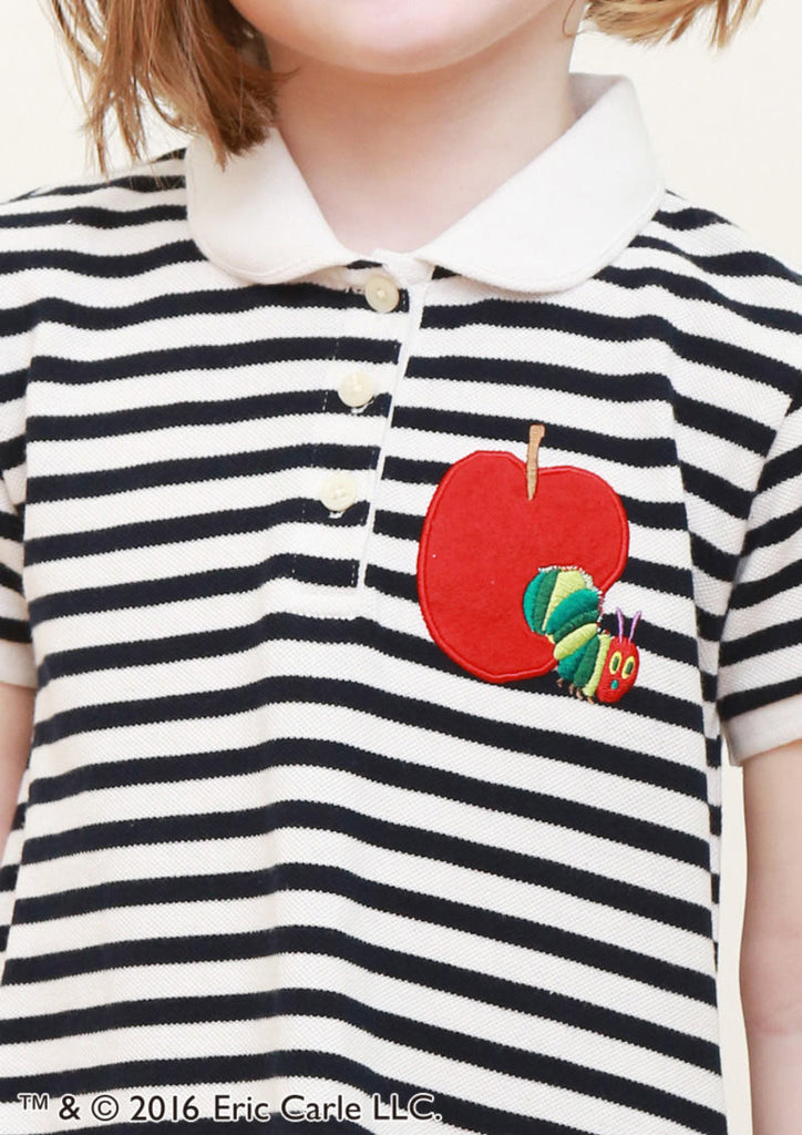Red Apple Embroidery (Eric Carle Short Sleeve Polo One-Piece)