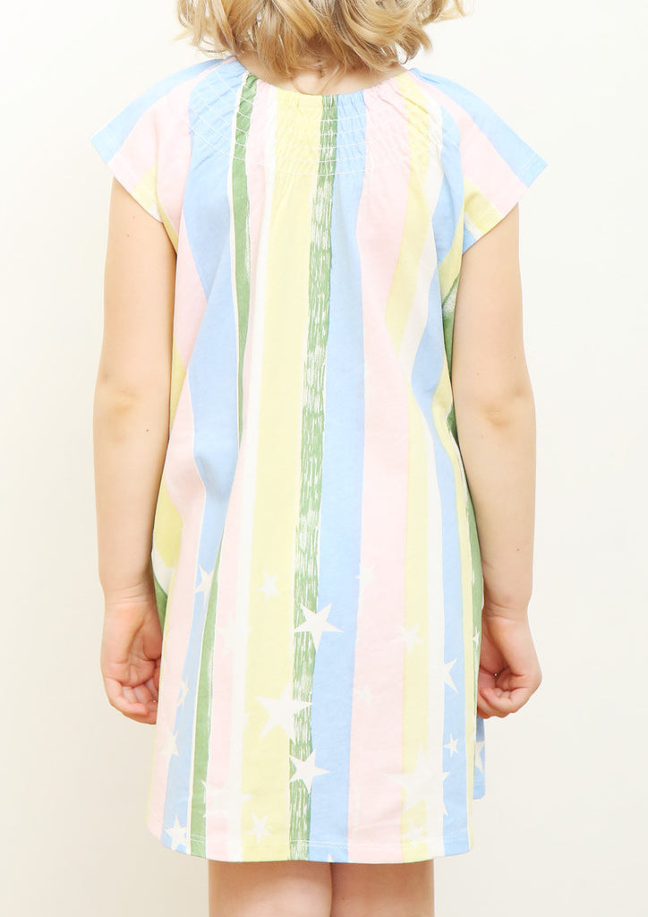 Shirring Neck Short Sleeve One-Piece (Stripe and Star)