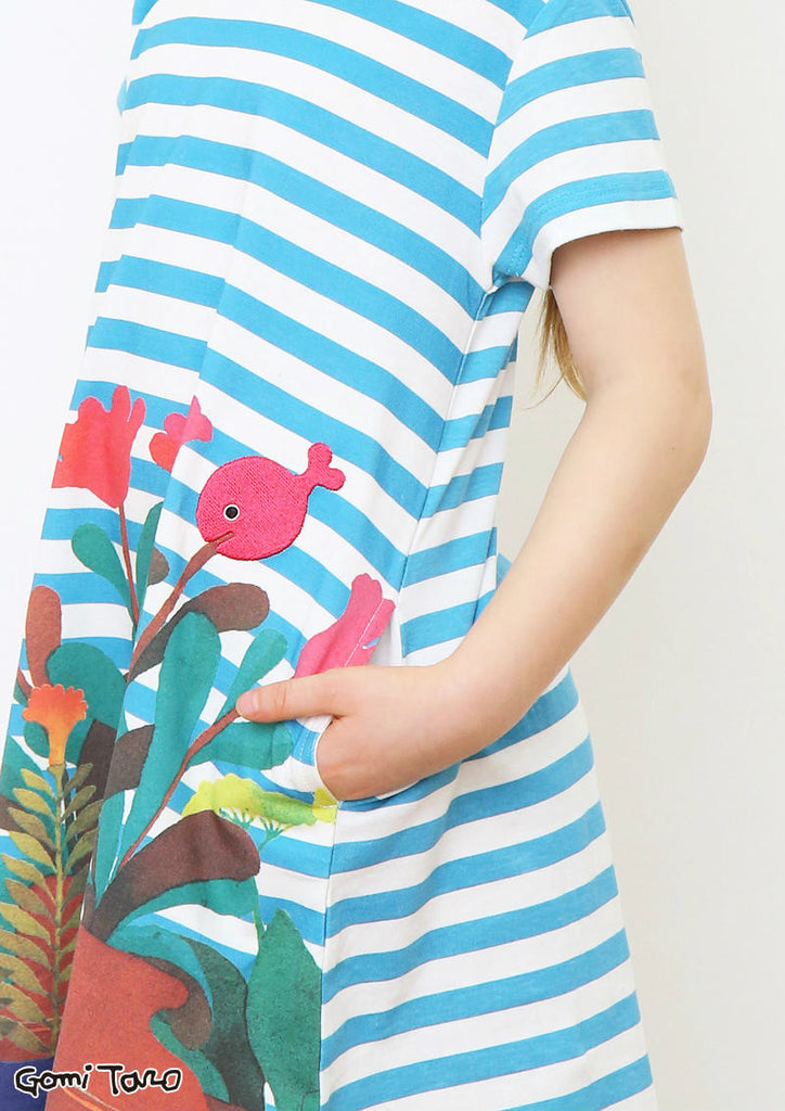 Kingyo ga Nigeta Flower (Taro Gomi A Line Short Sleeve One-Piece B)