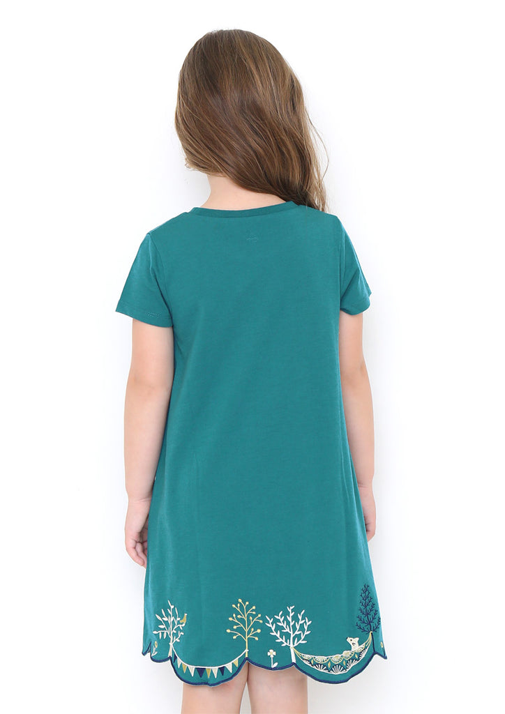 Scalloped A Line Short Sleeve One-Piece (Holiday in Forest)
