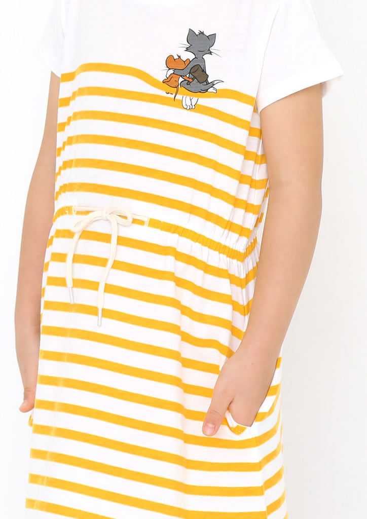 Tom and Jerry Waist Gather Short Sleeve One-Piece (Tom and Jerry_Friends)