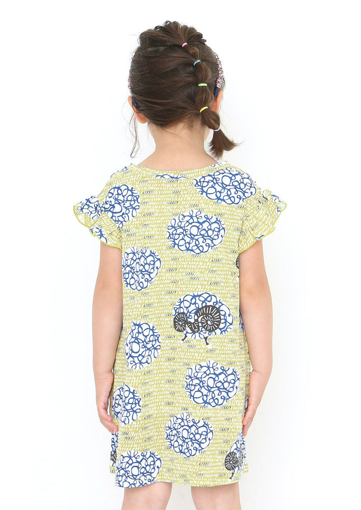 kata kata Box Frill Short Sleeve One-Piece (kata kata_Sheep Pattern)