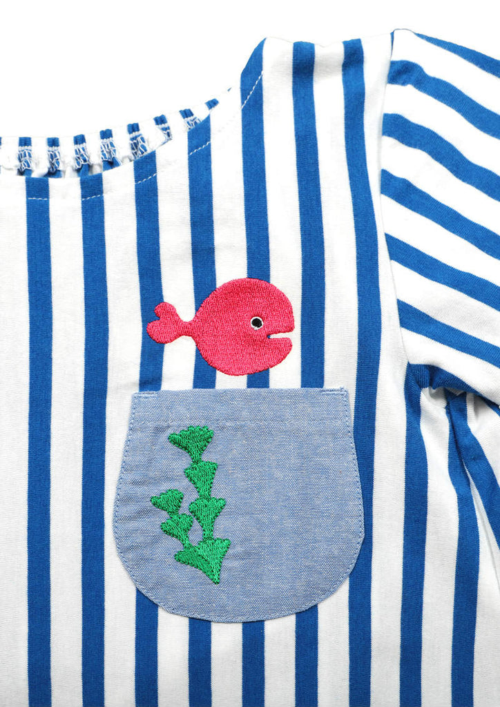 Taro Gomi Boat Neck A Line One-Piece (Taro Gomi_Kingyo ga Nigeta Fish Bowl)